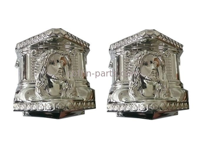 American Style Coffin Fittings ABS / PP Casket Corner With Silver - Plate TX - Christ B#